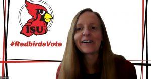 Katy Strzepek with the #RedbirdsVote logo