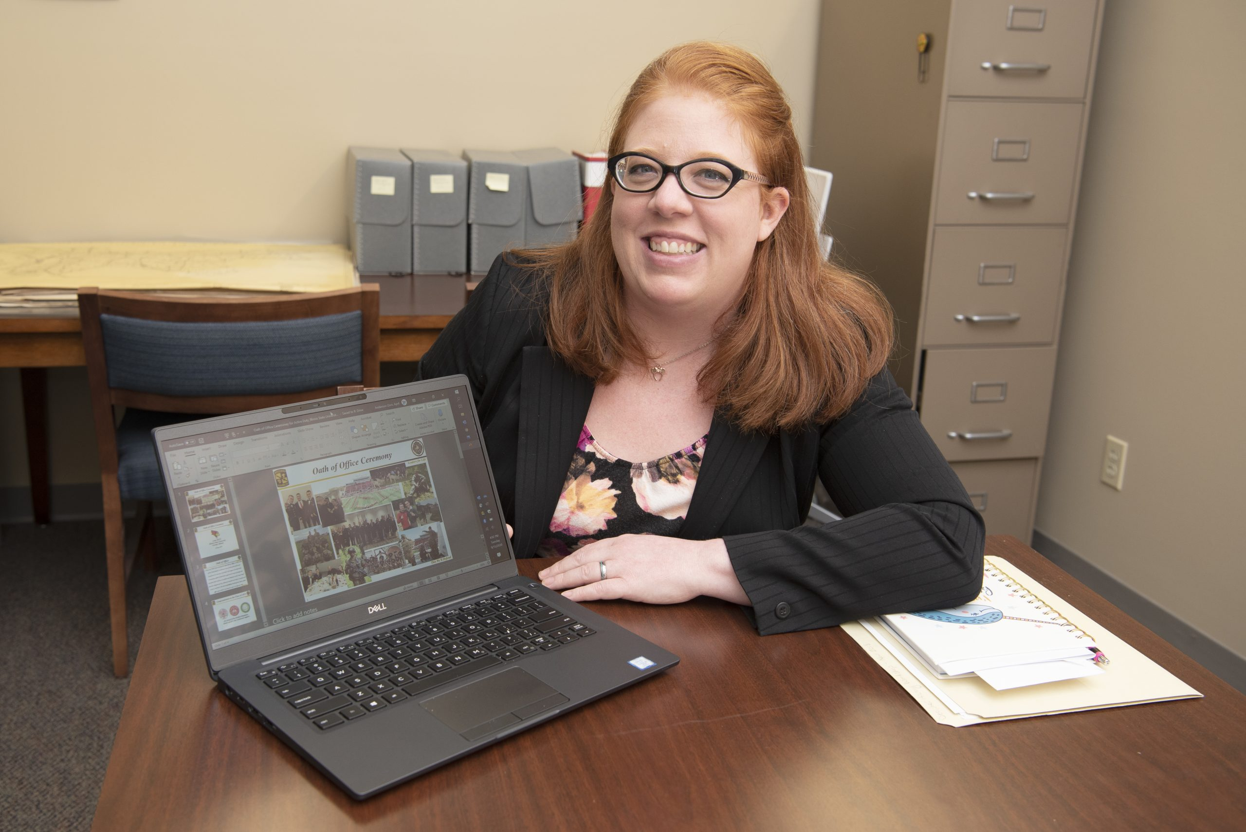 Woman showing digital archives