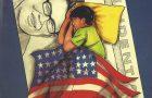 boy sleeping under an United States flag