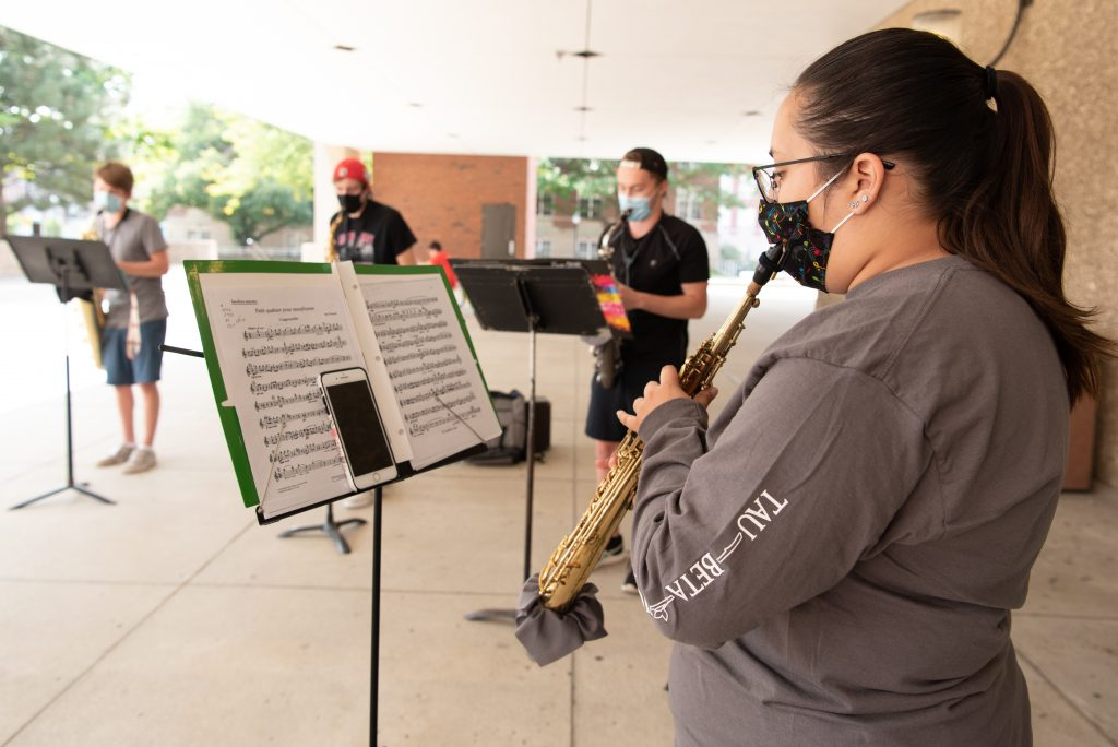 Quartet of students playing saxaphone