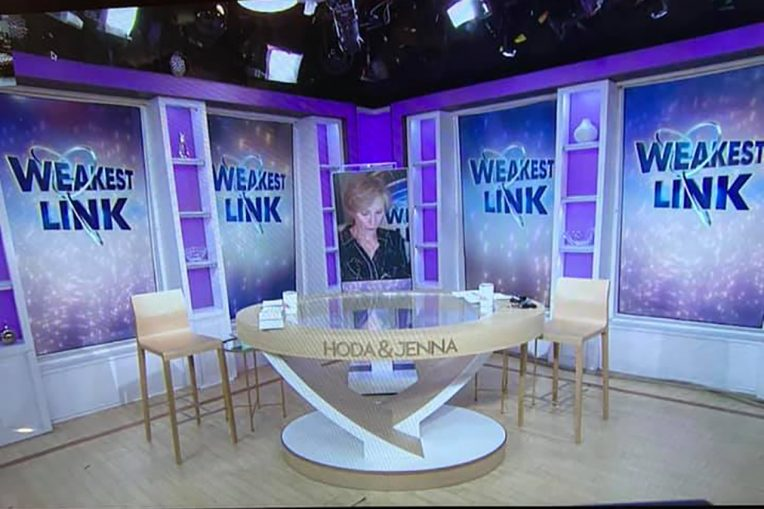 set of Hoda & Jenna show with Jane Lynch appearing