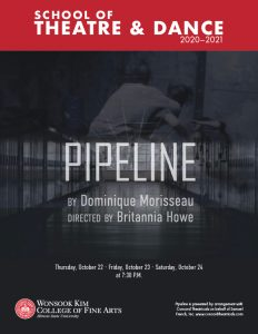 Playbill cover for PIPELINE. Image of school hallway with lockers and two boys fighting superimposed. Image includes author, director, dates of performances and performance rights.