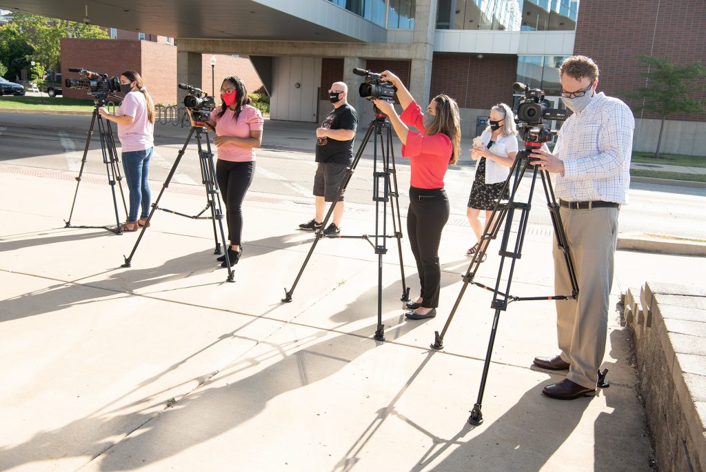 Students with cameras.