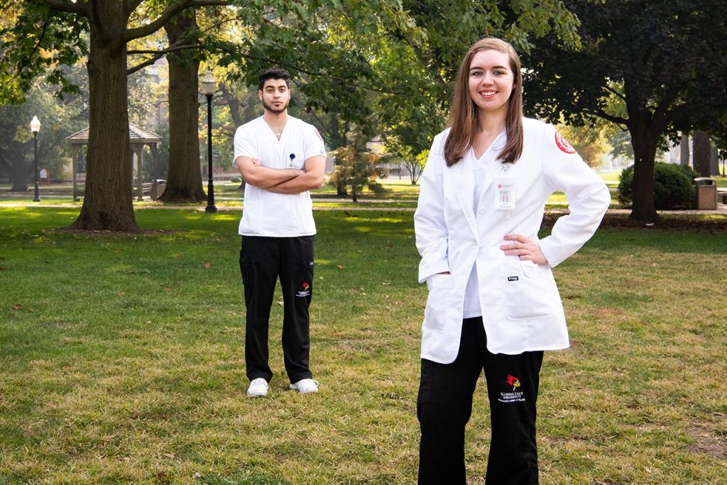 Illinois State University seniors Guido Calcagno and Shea Boston have been serving as contact tracers for the McLean County Health Department.