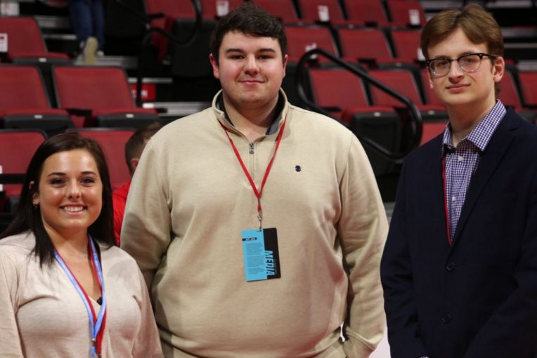 Student reporters for The Vidette in Redbird Arena