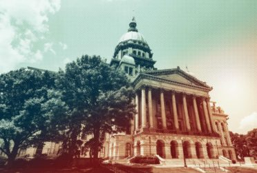 Stylized image of the Illinois capitol building.