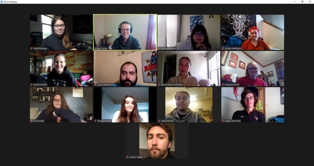 nts during a Zoom session for course Plagues, Pandemics, and People.