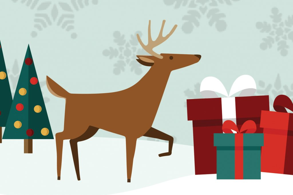 Illustrated image of a reindeer and gifts