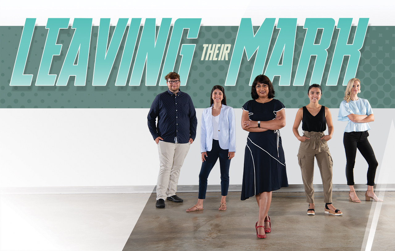 Leaving their mark: Design Streak Studio Creative Director Archana Shekara (center) with studio members (left to right) Spencer Cadman '20, Hannah Piemonte '20, Kristina Furler '20, and Micah Vetter '20.