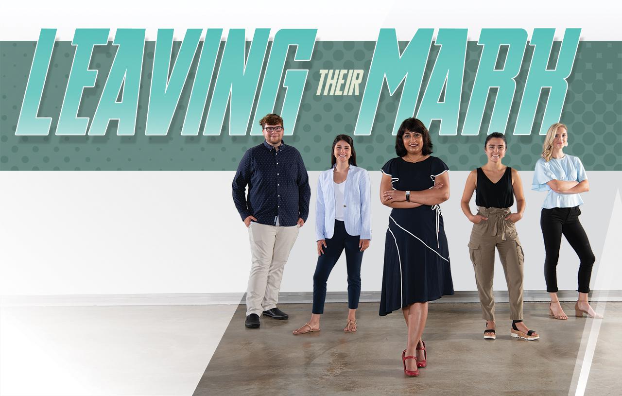 Leaving their mark: Design Streak Studio Creative Director Archana Shekara (center) with studio members (left to right) Spencer Cadman '20, Hannah Piemonte '20, Kristina Furler '20, and Micah Vetter '20.