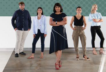 Design Streak Studio Creative Director Archana Shekara (center) with studio members (left to right) Spencer Cadman '20, Hannah Piemonte '20, Kristina Furler '20, and Micah Vetter '20