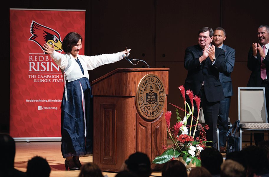 Alumna Wonsook Kim participated in a campus celebration of a $12 million gift she and her husband, Thomas Clement, made during Redbirds Rising.