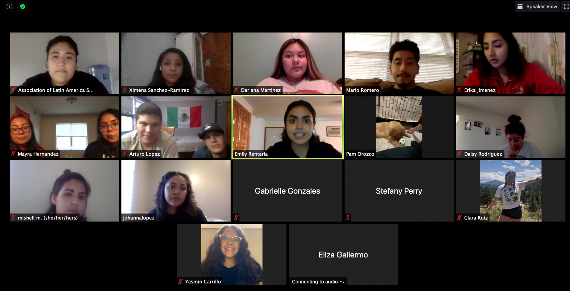 Association of Latinx American Students (ALAS) members during a Zoom event.