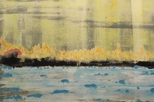 Artwork by Teri Croft, four-colormonotype, titled Sunset