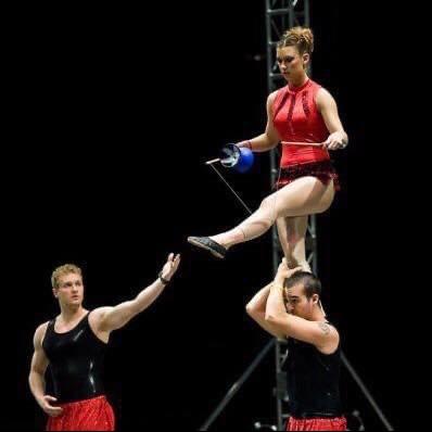 performers doing acrobatic stunt