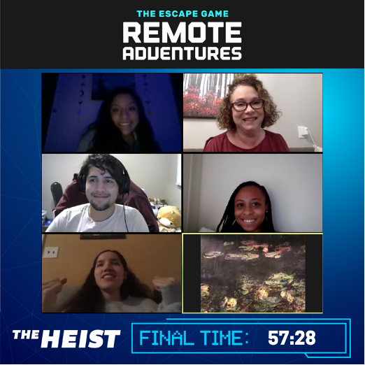 Text on Zoom image: The Escape Game Remote Adventures The Heist Final time: 57:28