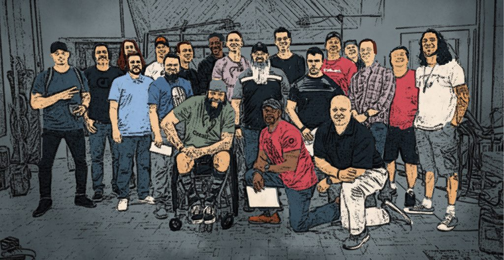 A group of veterans illustrated