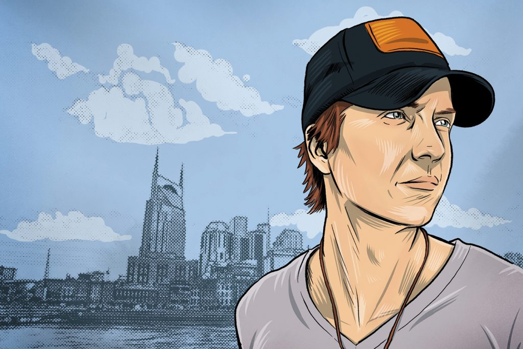 Artist's representation of Brett Gillan in front of Nashville skyline.