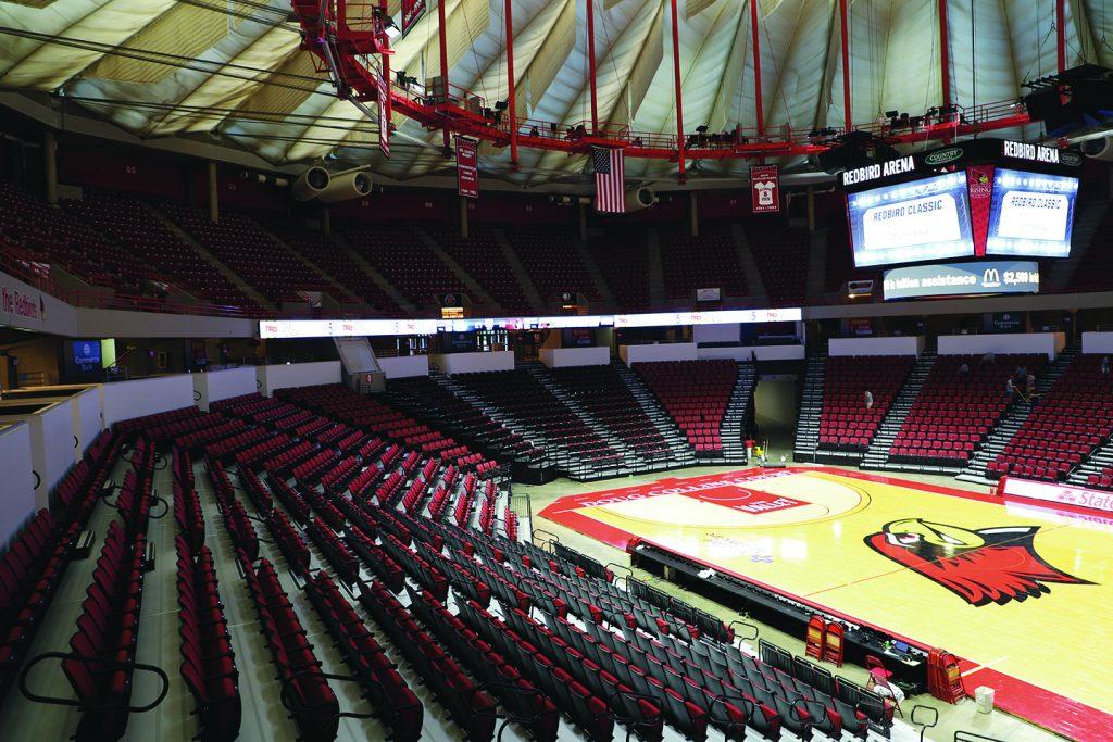 An empty Redbird Arena.