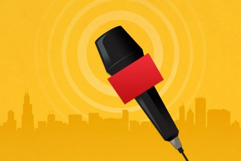 News reporter microphone illustration