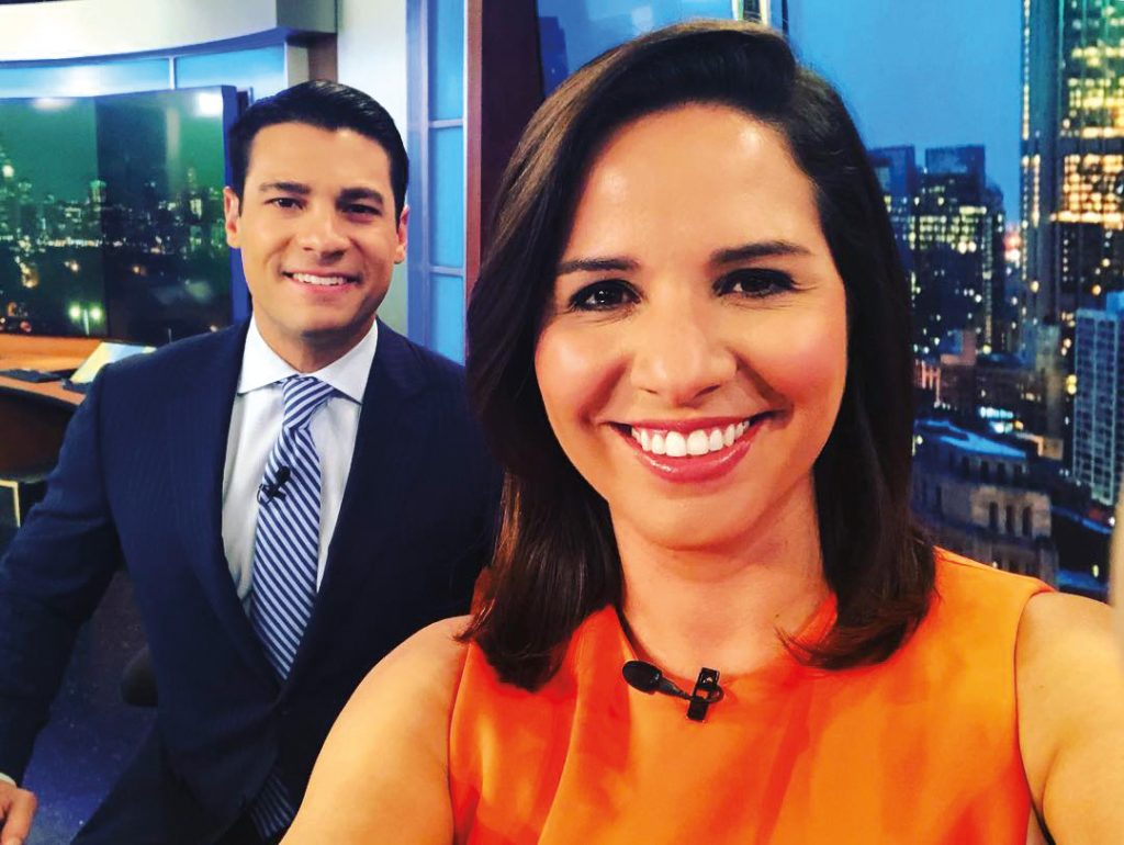 Sandra Torres in NBC 5's news studio with reporter/anchor Alex Maragos.