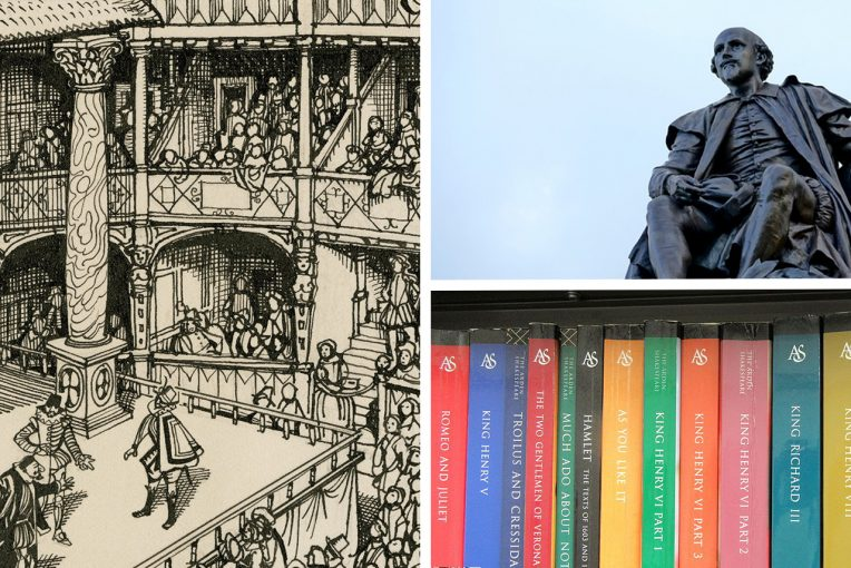 Photo collage of a bookshelf, illustration of a theatre, and a statue