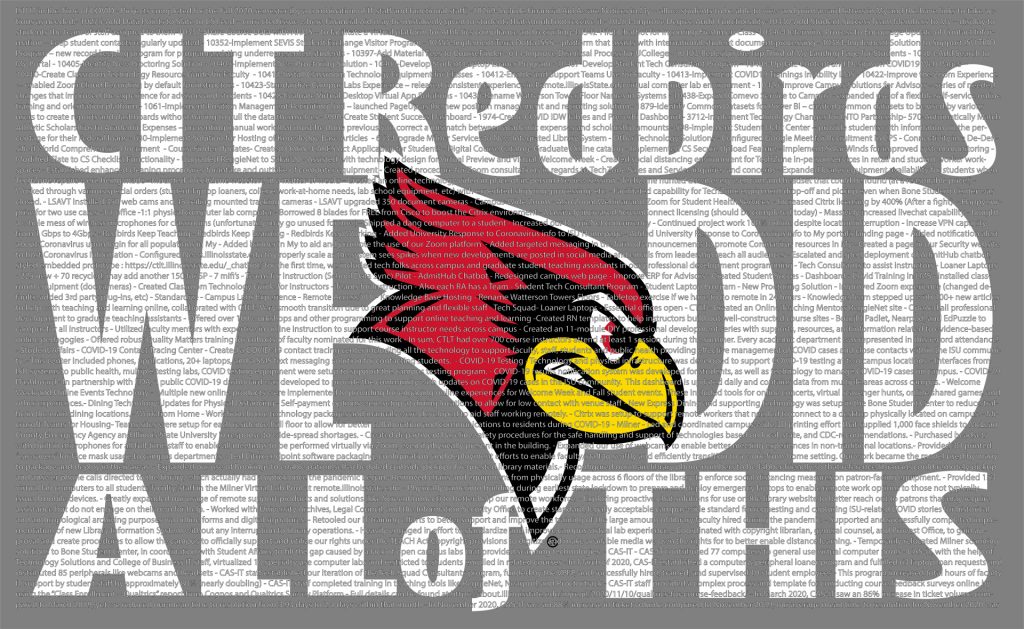 Image with the words CIT Redbirds We Did All of This comprised of all the different tasks Illinois State's IT community accomplished during the pandemic.