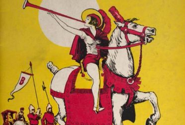 illustration of a person riding a horse blowing a horn that is an exerpt of a circus route book