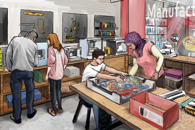 A conceptual sketch of ISU's new makerspace that will be part of the Illinois Innovation Network.
