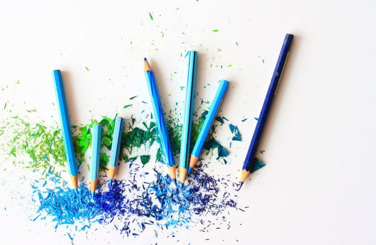 Coloring pencils on paper