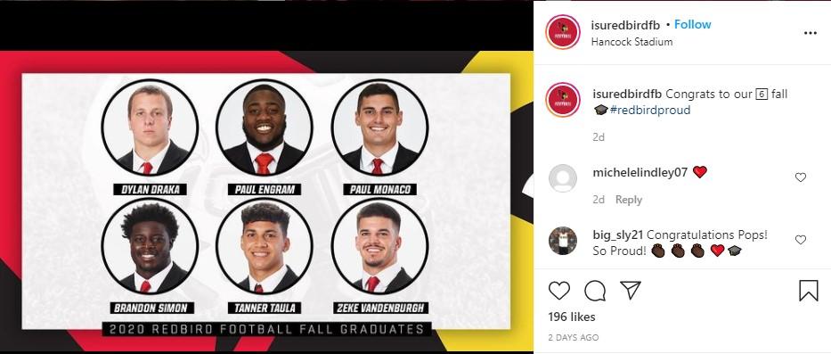 Post from Redbird Football honoring graduates Dylan Draka, Paul Engram, Paul Monaco, Brandon Simon, Tanner Taula, and Zeke Vandenburgh.