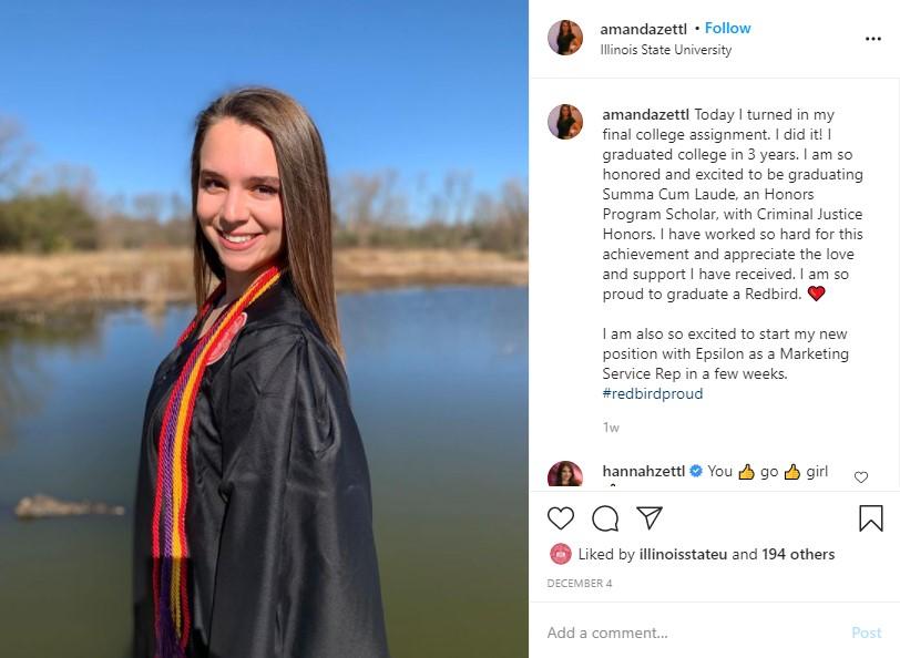 Instagram post of Amanda Zettl in her graduation gown.