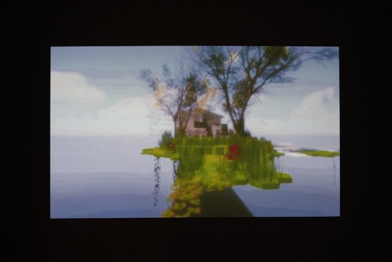 Installation view of Sargylana Cherepanova's Empty Spaces/Overgrown, 2020. Video game experience.