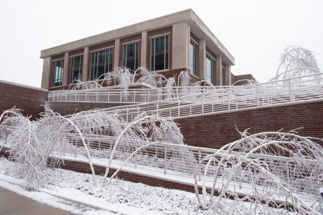 The Bone Student Center after an ice and snow hit campus in early January 2021.