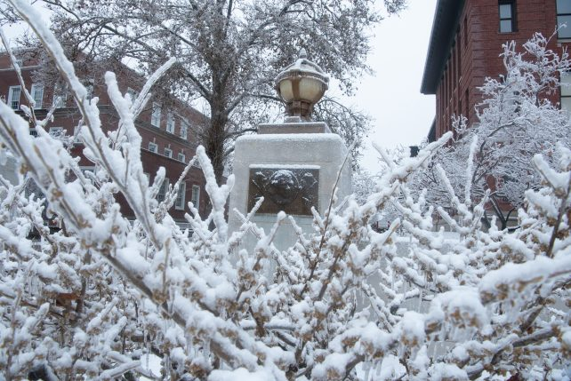 An entry to the Quad after an ice and snow hit campus in early January 2021.