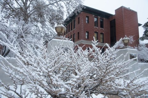 Moulton Hall after an ice and snow hit campus in early January 2021.