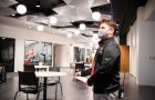 Student stands in the newly renovated Bone Student Center