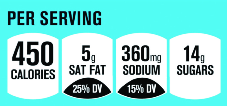 front of package lable with Per Serving, 450 calories, 5g Sat Fat, 360mg sodium, and 14g sugars