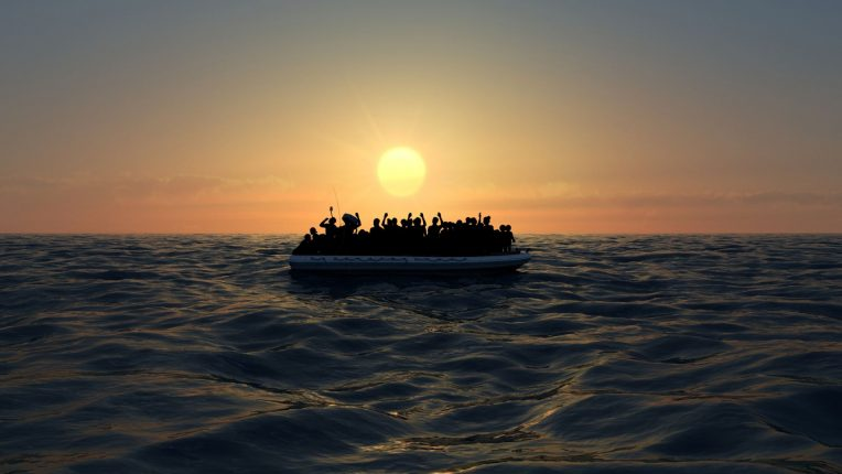 Migrants crossing the sea