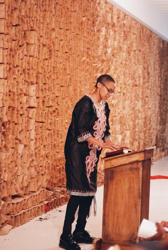 Photo of Tiff Beatty speaking.