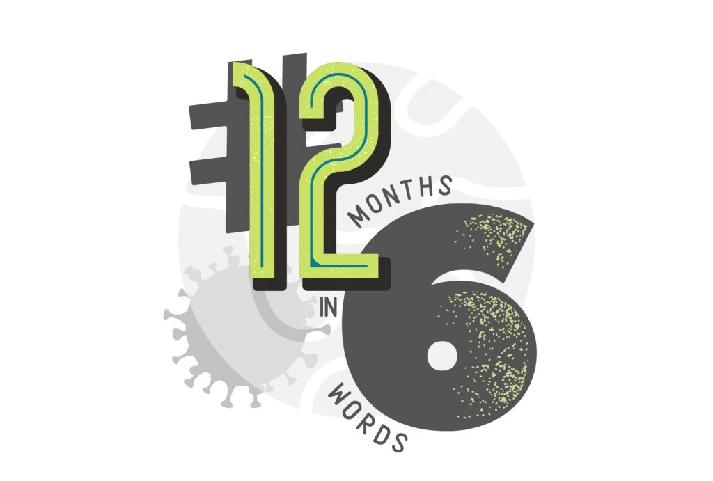 Logo with the words # 12 months in six words
