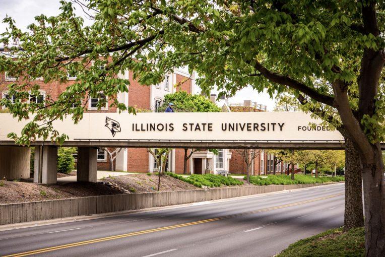 Illinois State walking bridge over road