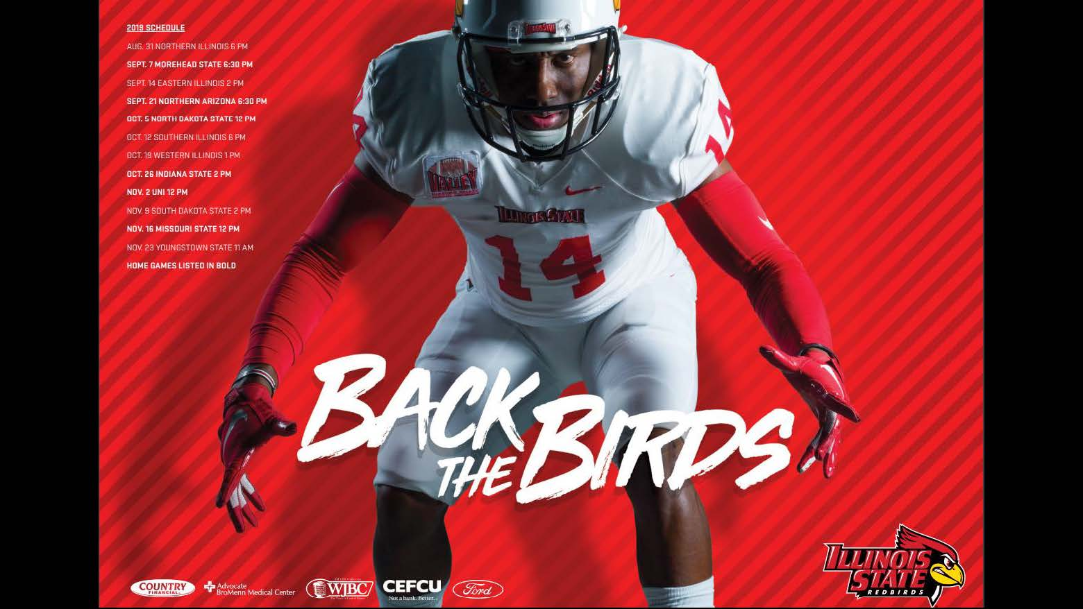 Design, Poster Series (Bronze): Illinois State University Athletics poster series designed by Michael Mahle and Evan Walles and with photography by Lyndsie Schlink for Redbird Athletics. Football player Back the Birds