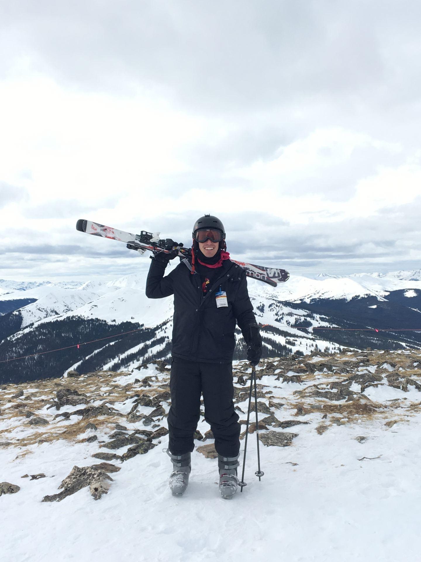 Harrison Krebs on a ski trip