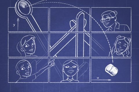 Diagram illustration shwoing children and instructors using a catapult to propel a marshmallow