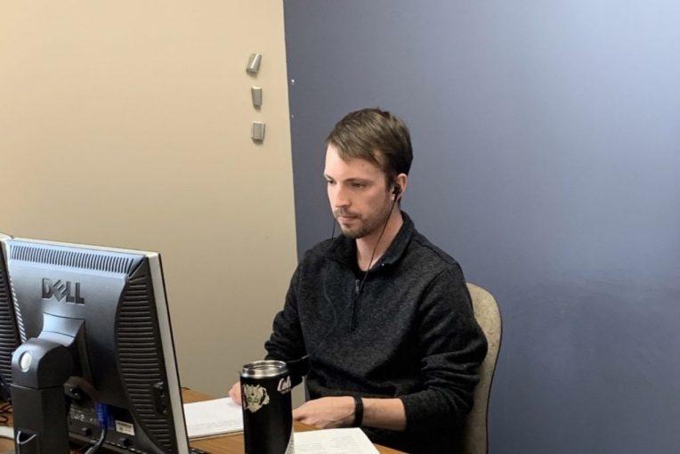 Jack White at computer