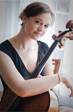 Dr. Cora Swenson Lee with cello