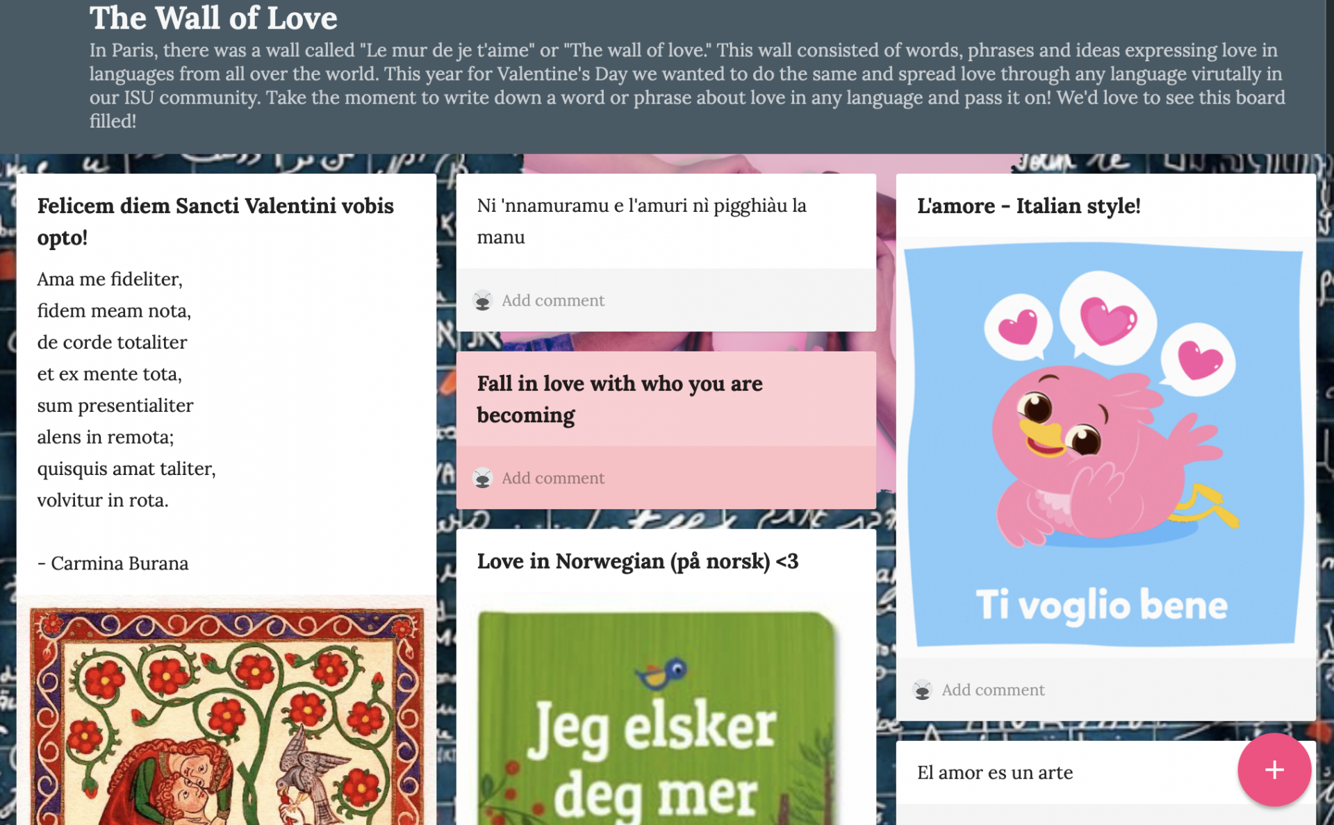 """A screenshot of this year's online """"Wall of Love,"""" showing the words """"I love you"""" in many different languages."""
