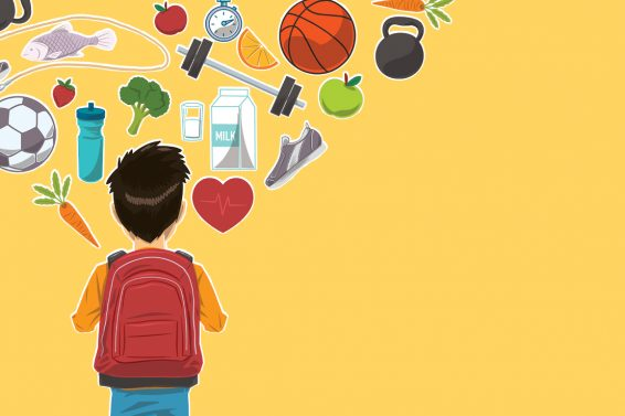 illusration of a boy with wellness items floating in the air on a yello background