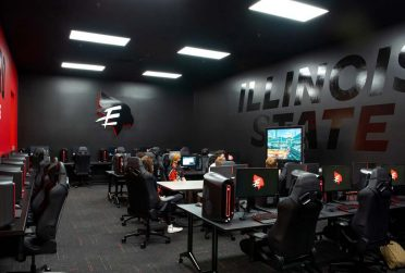 """Design, Environmental Graphics (Bronze): """"The Vault""""—Illinois State University Esports Gaming Space designed by Evan Walles for the Redbird Esports program."""